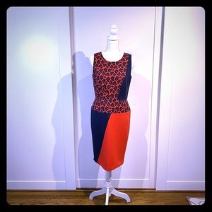 Ann Taylor Red and navy dress